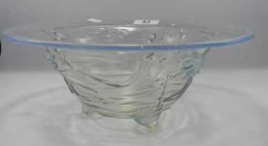 Large Jobling Opalique Glass Bowl with Fish Decoration: chip to foot, diameter 28cm