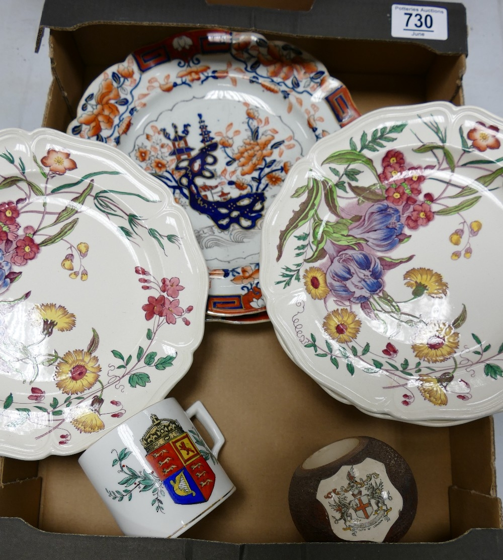 A mixed collection of items to include: Macintyre Crested Match striker, Wedgwood Floral Decorated