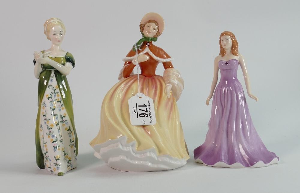 Three Royal Doulton figures Amethyst Autumn & Veneta: Autumn HN5323, Veneta no number but is