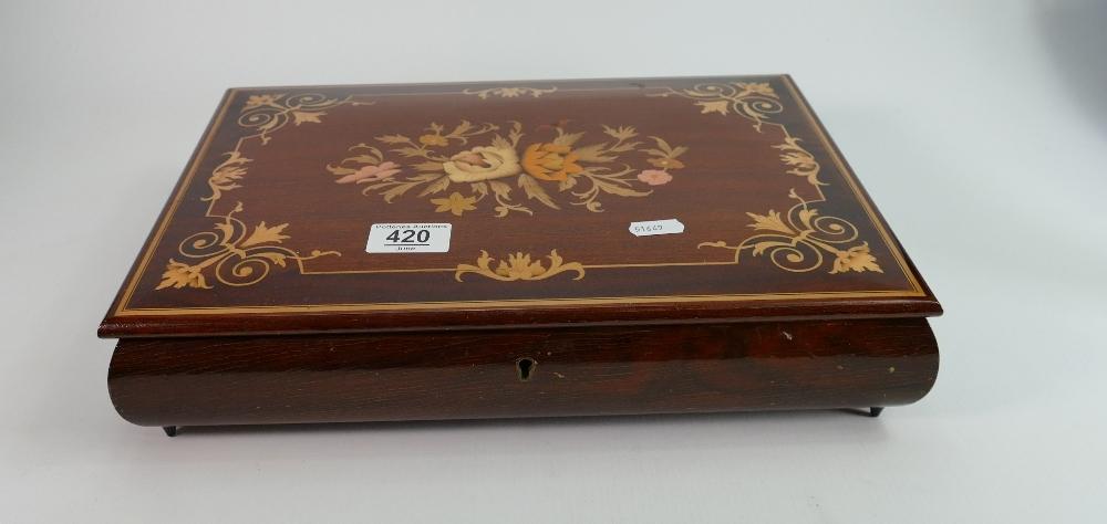 Fine quality large inlaid musical jewellery box: Measures 36.5 cm x 27 cm x 7cm high. Italian made