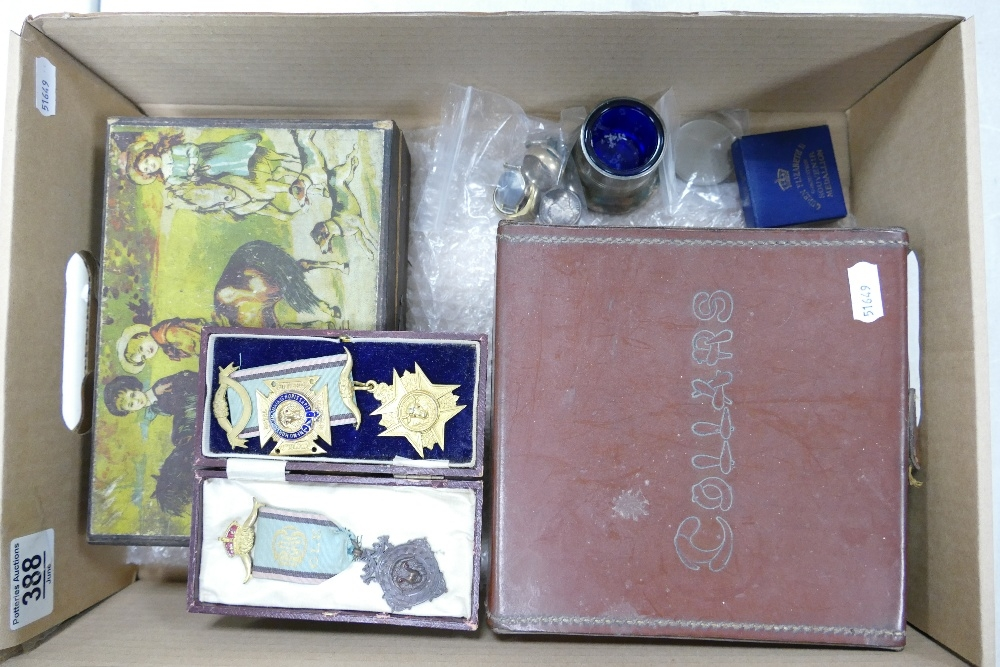 Leather collar box RAOB medals jewellery etc: Includes George III silver shillings & other coins,
