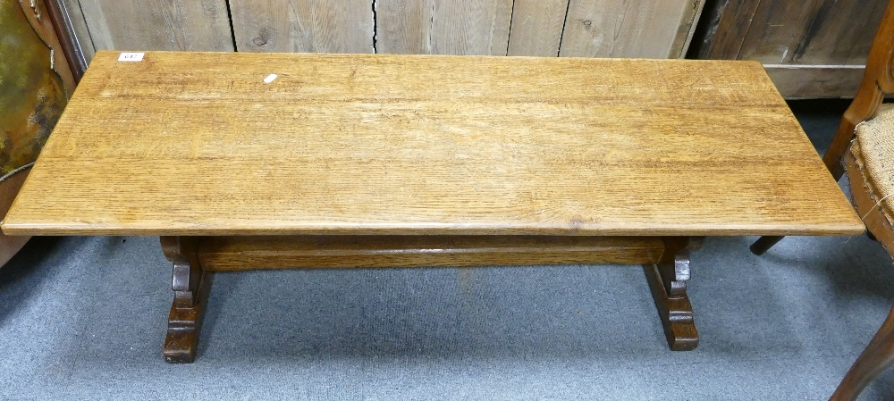 Oblong oak coffee table: Measuring 122 cm x 44 cm x 38 cm high appx.