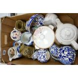 A mixed collection of items to include: 19th Century Blue & White jugs, Welsh Theme stoneware