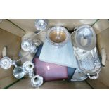 Silver plated items to include: trays, vases, candlestick, cased spoons and cutlery set etc
