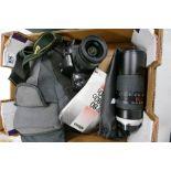 Nikon F80 35mm Film Camera: Nikkor af 28-80mm lens fitted & Hoya HMC Zoom & Macro 100-300mm 1:5