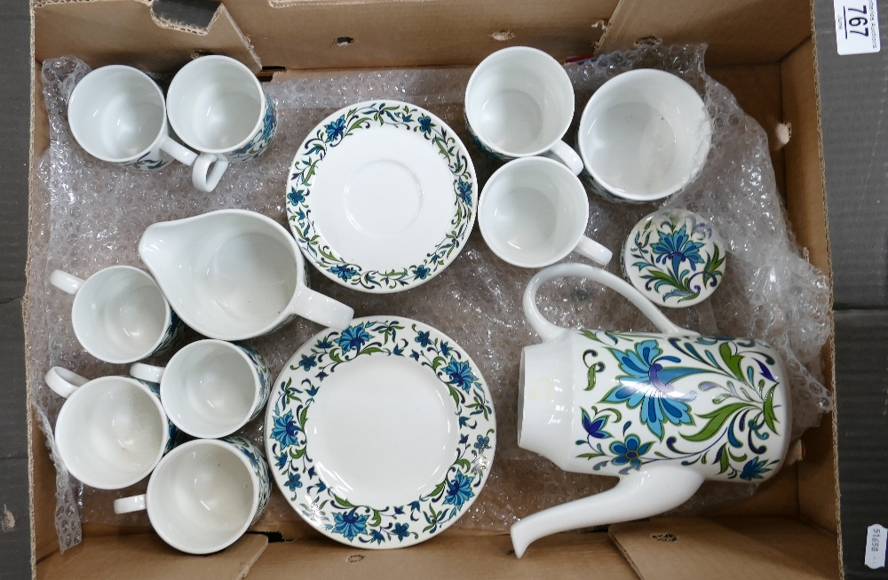 Midwinter Spanish Garden coffee set: Includes large coffee pot sugar & cream, 4 plates, 8 cups and 8