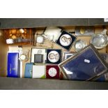 A mixed collection of items to include: picture frames ( one silver one noted), Waterford small