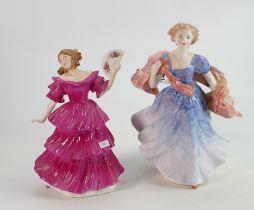 Royal Doutlon Lady Figures: Jennifer HN3447 & Morning Breezes HN3313(2)