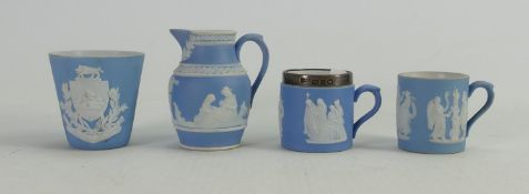 A collection of Wedgwood dip light blue miniatures items to include: Crested beaker, tankards & jug.