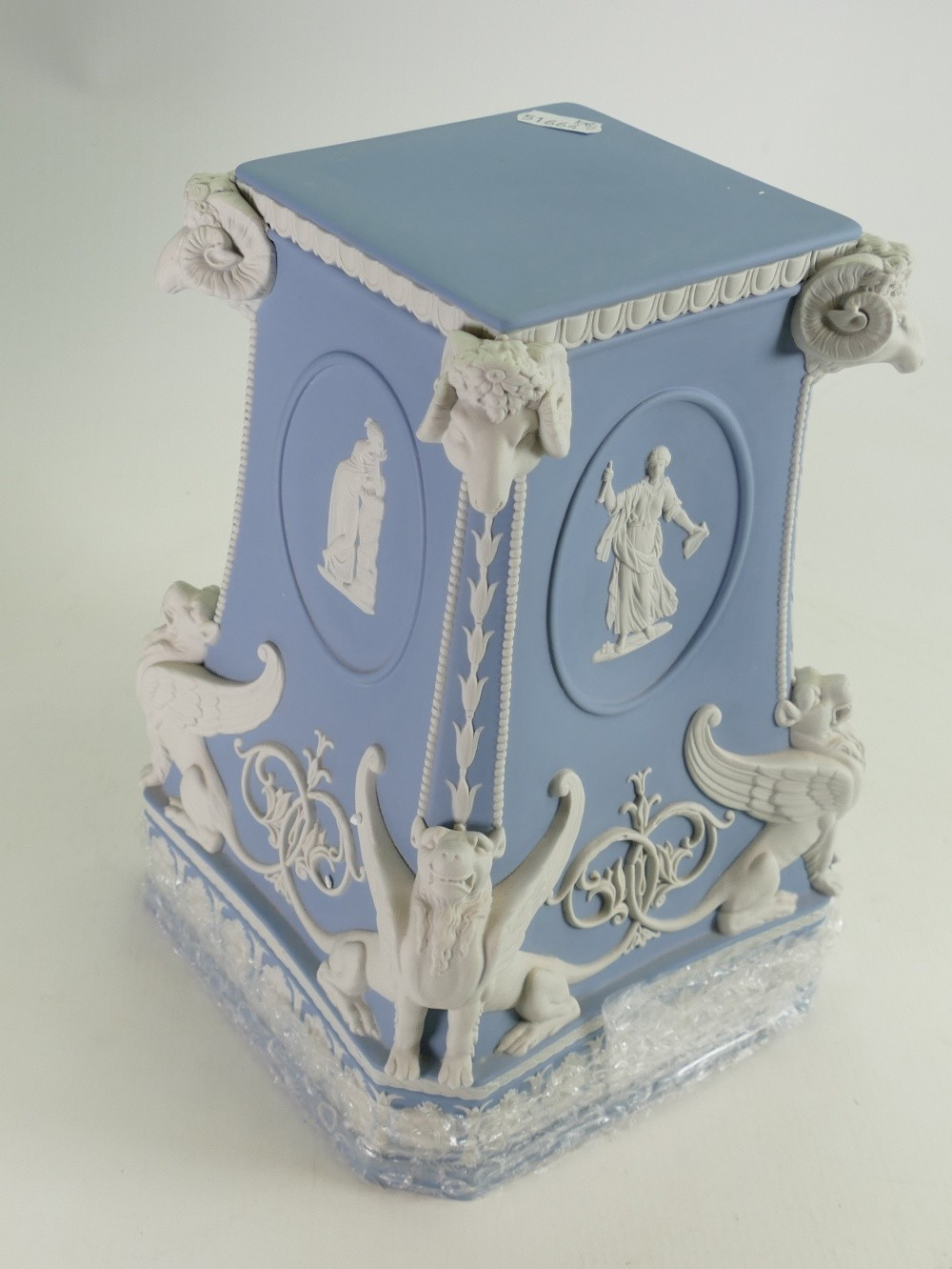 Wedgwood white on pale blue limited edition snake handled vase and stand: Height 71cm with - Image 3 of 6