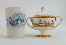 Wedgwood Emile Lessore decorated Queens Ware: Two handled pot & cover decorated with children,
