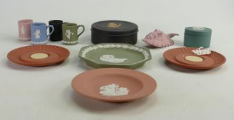 A collection of multicoloured Wedgwood Jasperware to include: Pin trays, miniature tankards,