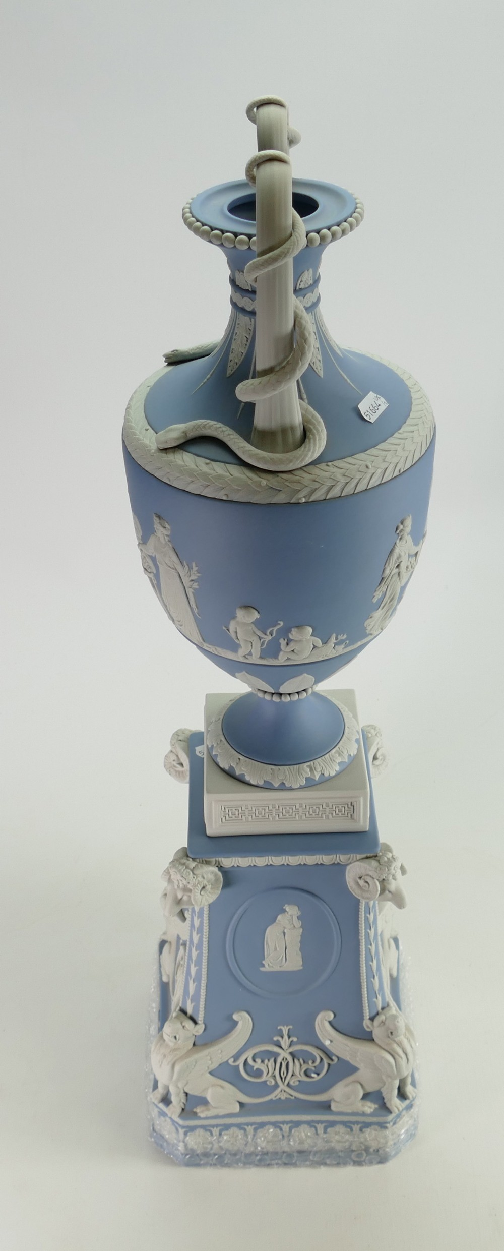 Wedgwood white on pale blue limited edition snake handled vase and stand: Height 71cm with - Image 2 of 6