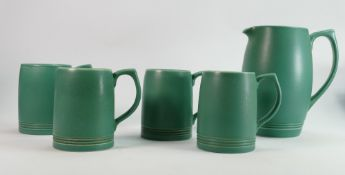 Wedgwood lemonade set by Keith Murray: Green glaze comprising large jug with 4 tankards (crack to