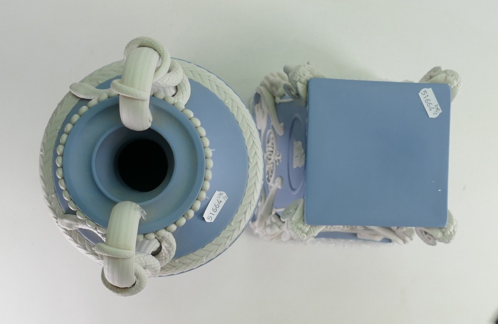 Wedgwood white on pale blue limited edition snake handled vase and stand: Height 71cm with - Image 4 of 6