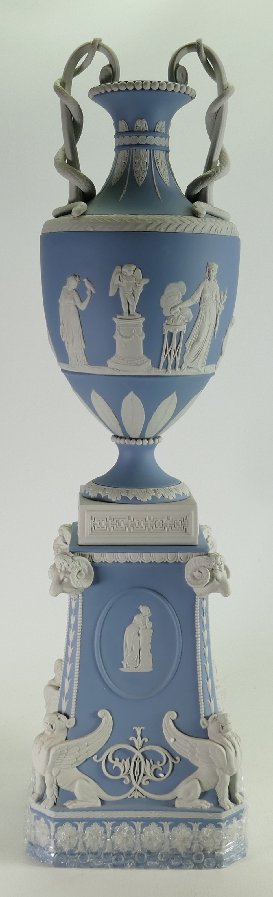 Wedgwood white on pale blue limited edition snake handled vase and stand: Height 71cm with