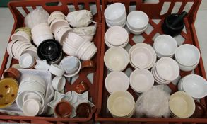 A large quantity of ramekins: together with pestle and mortar and dip bowls etc (2 trays).