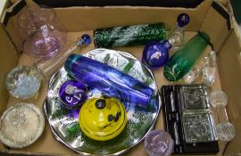 A mixed collection of glass items: inkwell, pestle and mortar, paperweight, vases etc (1 tray).