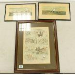 Three Hunting Theme Framed Prints: largest 51cm x 41cm(3)