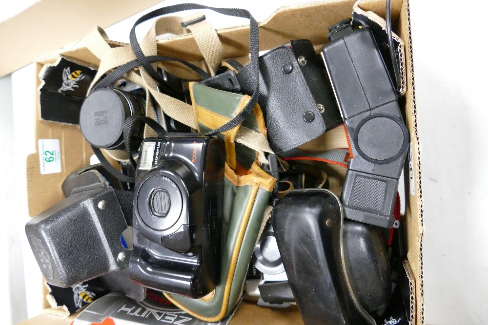 A collection of vintage camera's to include: Zenit 12xp 35mm film camera, Olympus AZ230 super zoom