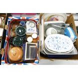 A mixed collection of items to include: silver plates picture frames, studio pottery, decorative