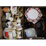 A mixed collection of items to include dinner plates: voice master mugs, storage jars, terracotta