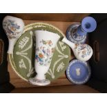 A collection of Wedgwood items: Kutani Crane bud vases x 2, Kutani Crane flared vase, Jasperware