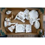 A collection of Aynsley Floral Decorated items to include: Cottage Garden pattern candlesticks,