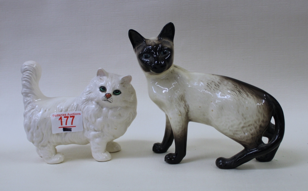 Beswick white Persian cat: together with a Beswick Siamese cat (2).