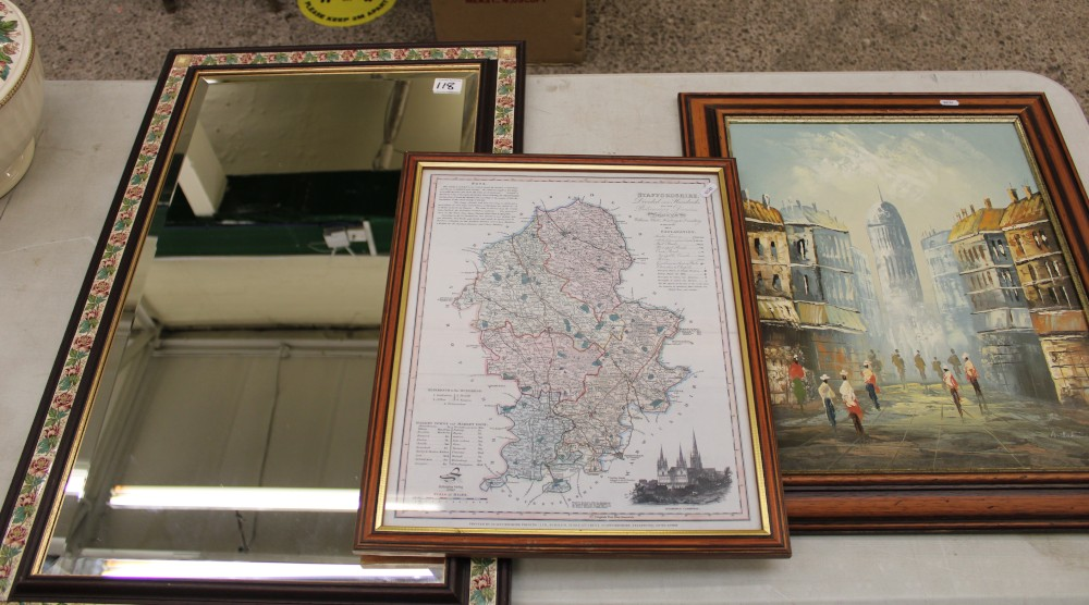 Vintage beveled edge mirror with tiled frame 84cm x 53cm: together with a modern map of