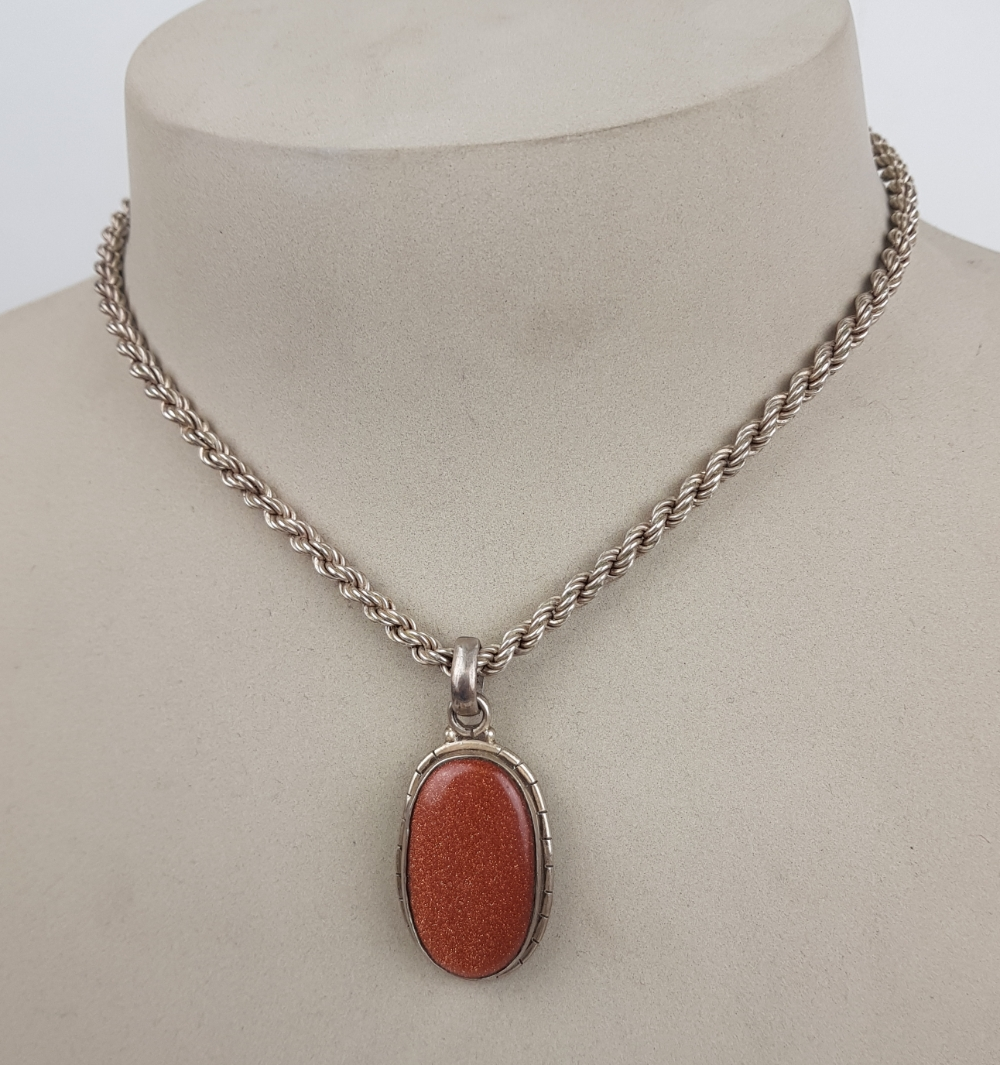 "ladies Silver stone pendant & 16"" necklace, 19g:"