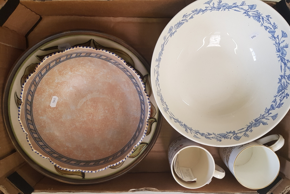 A Wedgwood Centennial bowl 29cm dia: together with a Wedgwood tankard, Royal Crown Derby tankard,