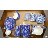 A collection of Burleigh Calico Ware to include: Lidded Pot, graduated water jugs, sugar bowl etc
