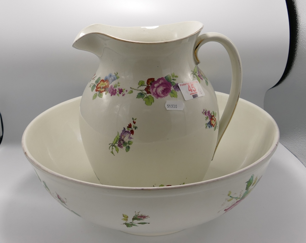 Large Floral Decorated Wash Basin & Jug:
