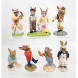 Royal Doulton Bunnykins figures: Little Bo Peep DB220, Drum Major DB27, Morris Dancer DB204, Mothers