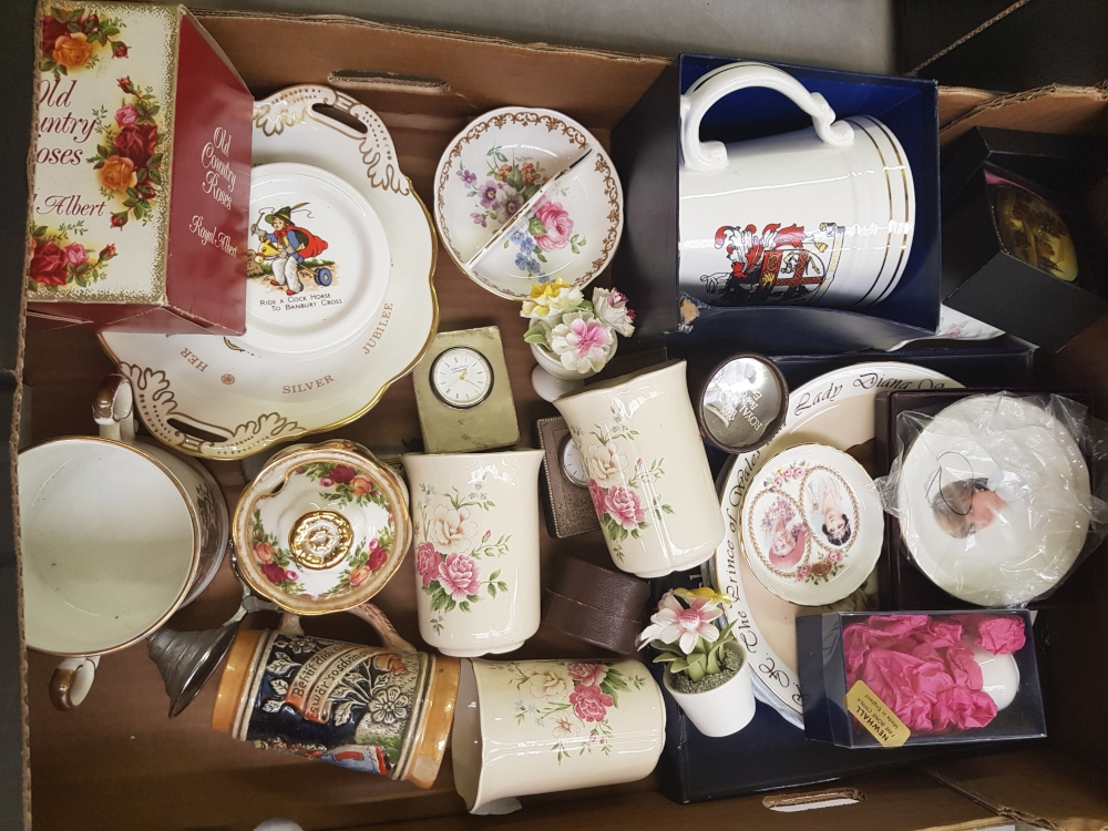 A mixed collection of items to include: Royal Albert Old Country Rose Boxed lidded pot, Modern