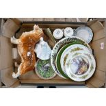A mixed collection of items to include: Melba Ware large Corgi figure, damaged Royal Doulton lady