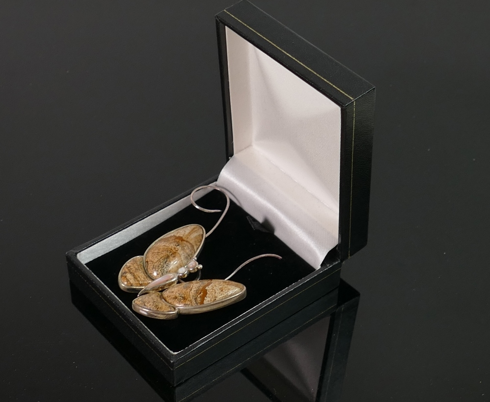 Sterling silver jasper butterfly pendant: and 17? snake necklace: QVC brand new and boxed.