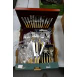 A collection of items to include: cased cutlery & similar loose items