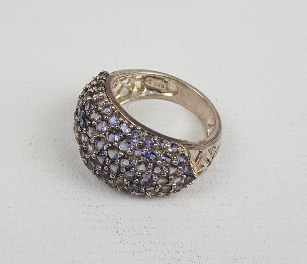 Silver Ladies purple stone cluster ring, size R, 6.3g: