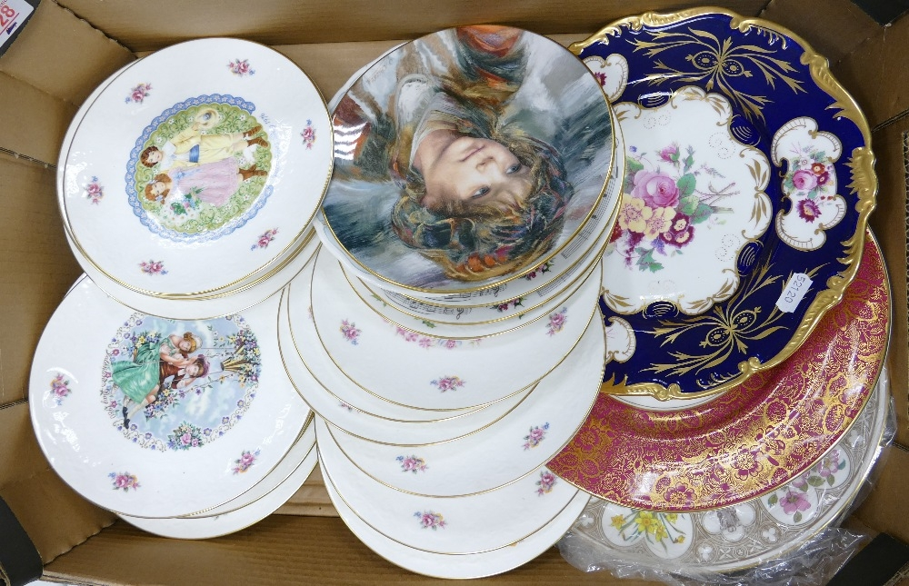 A collection of Royal Doulton Valentines Plates: together with Coalport Cabinet Plates & similar
