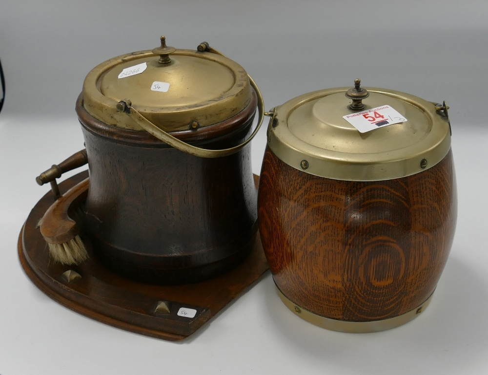 Two Oak Shielded Biscuit Barrels : together with similar crumb tray & brush