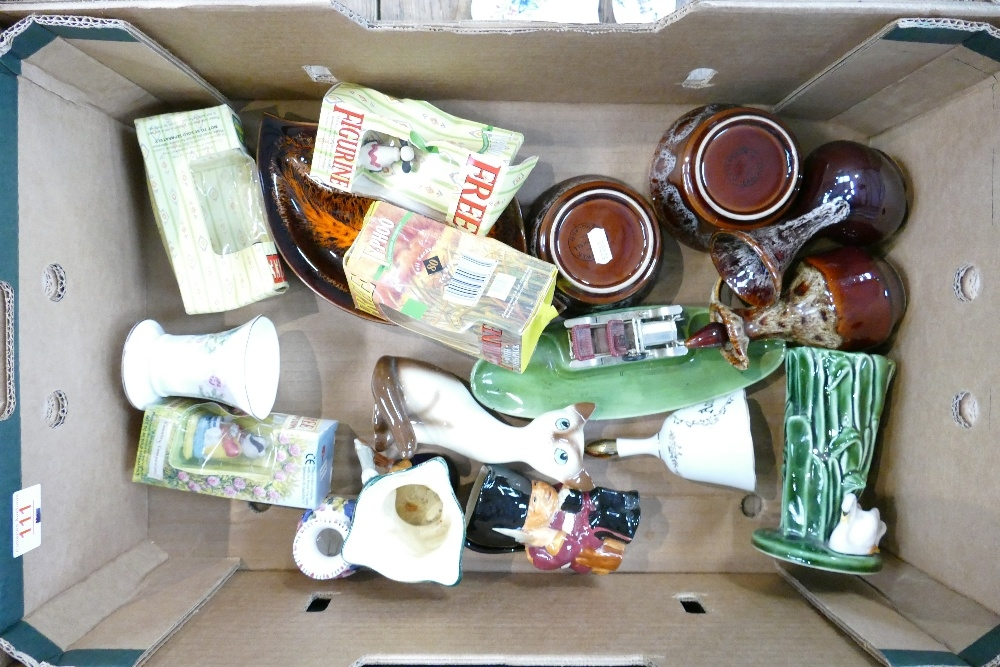 A mixed collection of items to include: Cornish Pottery, Shorters Toby & Character jugs, Wade