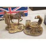 2 brass figural groups: depicting a farrier and a wheelwright (2).