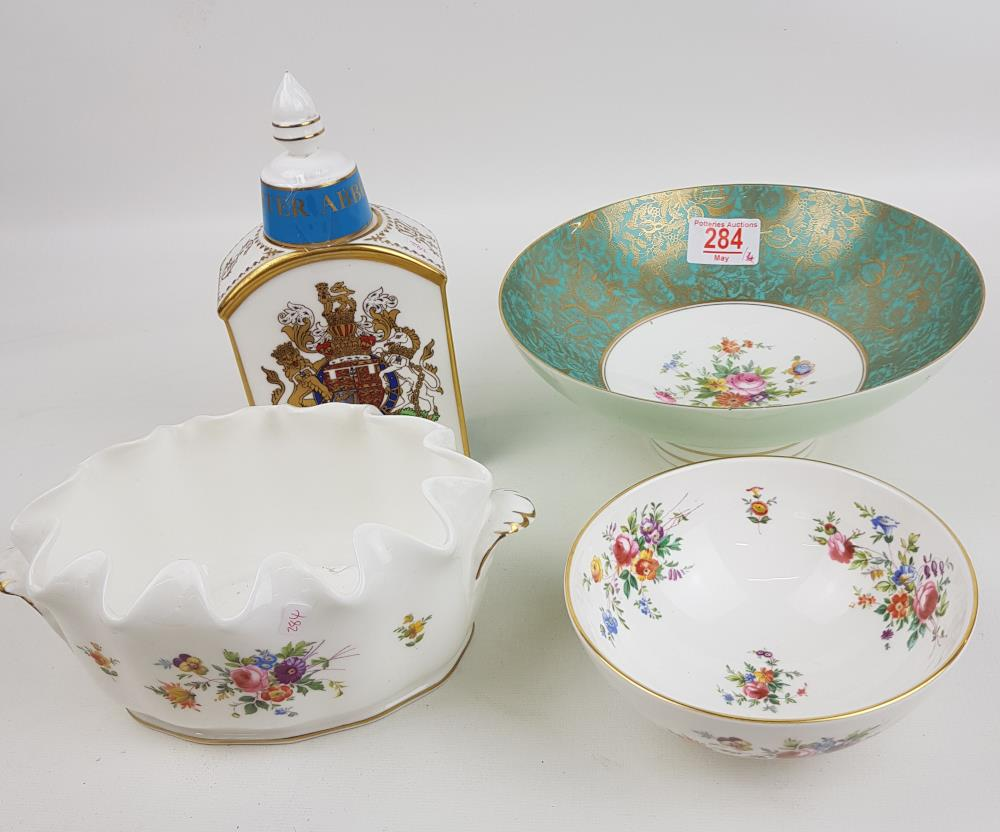 Minton items to include: Marlow Patterned Handled planter, Floral Decorated Footed Bowl (chip to