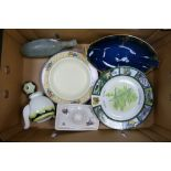 A mixed collection of items to include: Royal Doulton Valery Teapot, Crown Devon Tray, Wedgwood