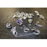 A Collection of Silver & Plated Items to include: Earrings, Chains rings etc