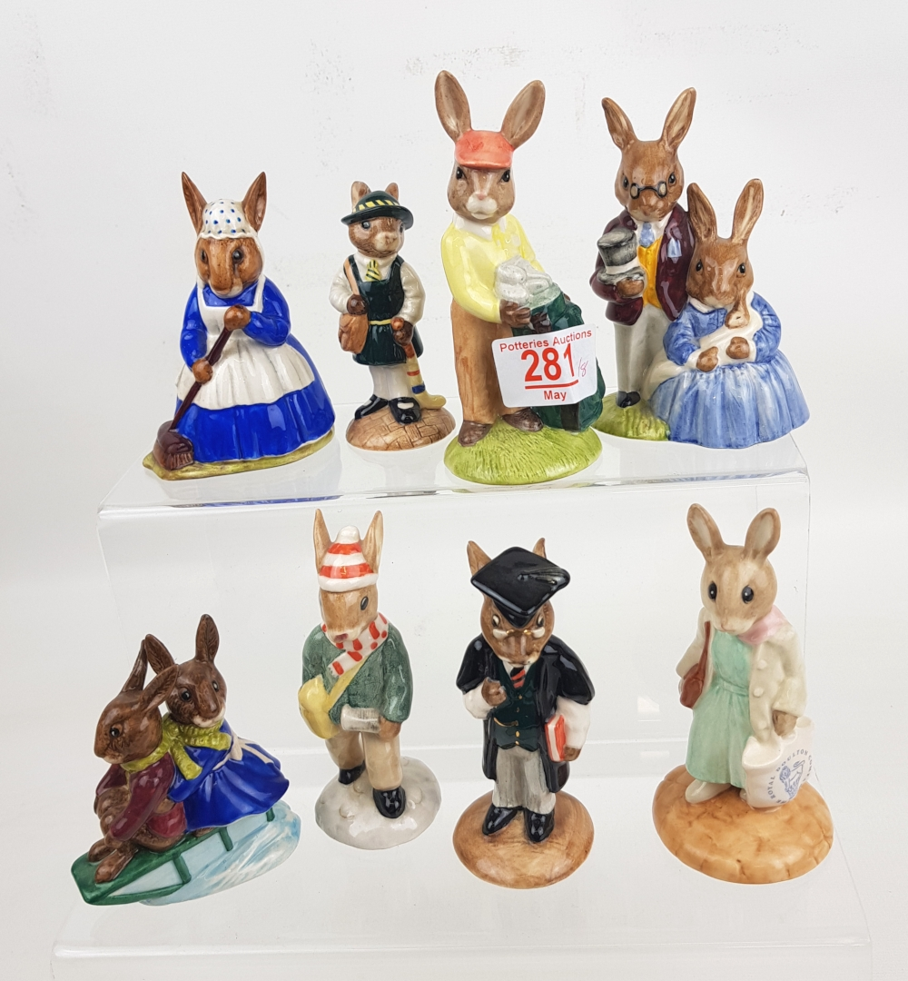 Royal Doulton Bunnykins Figures: School day DB57, Shopper DB233, Father Mother & Victoria DB68,