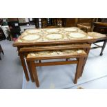 Mid Century Ambercraft Tiled Nest of Tables: