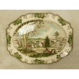 Very Large Johnson Bros Meat Plate: with Christmas Scene decoration, length at largest 51cm